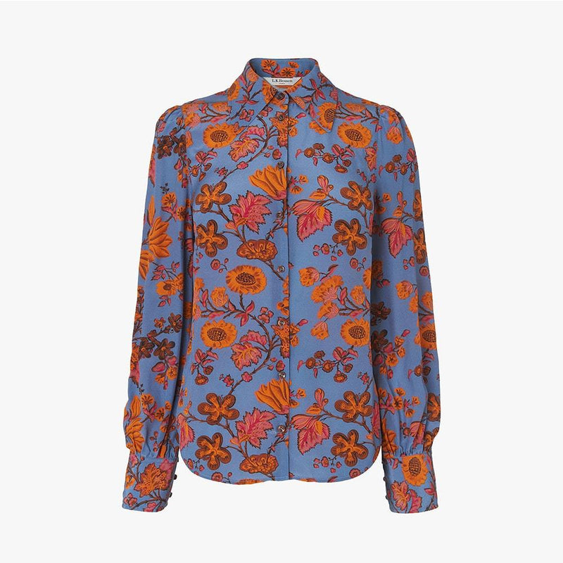 L.K.Bennett Sonya Floral Collar Neck Silk Crepe Blouse Shirt UK6 Zoom Boutique Store shirt L.K.Bennett Sonya Floral Collar Silk Crepe Blouse Shirt| Zoom Boutique
