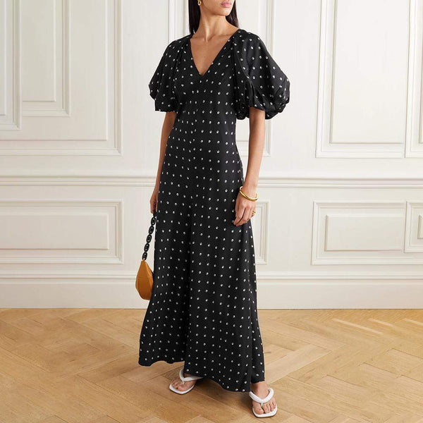 Lee Mathews Roxie Silk Puff Sleeve Bias Maxi Dress RRP$799 - Zoom Boutique Store
