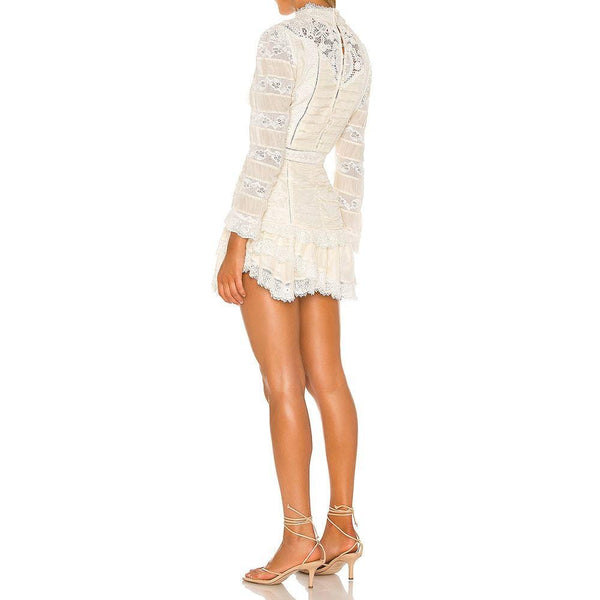 LoveShackFancy Harmon Silk Lace Ruffle Mini Dress Zoom Boutique Store dress LoveShackFancy Harmon Silk Lace Ruffle Mini Dress | Zoom Boutique