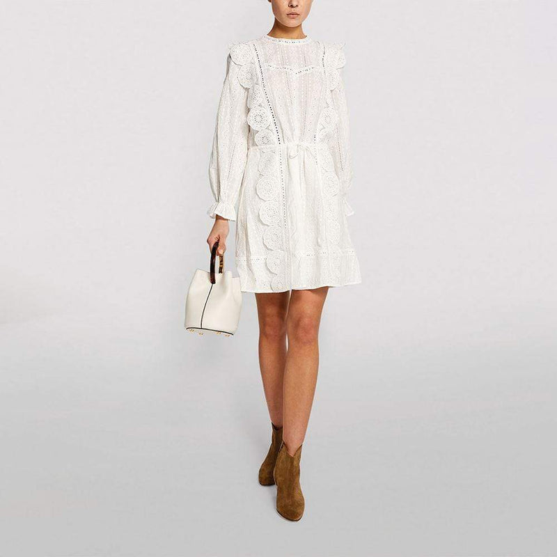 Maje Broderie Anglaise White Cotton Mini Dress RRP$415 - Zoom Boutique Store