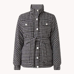 Maje Ganette Houndstooth Tweed Tie Belt Cotton Jacket RRP$685 36 Zoom Boutique Store jacket Maje Ganette Houndstooth Tweed Tie Belt Cotton Jacket | Zoom Boutique