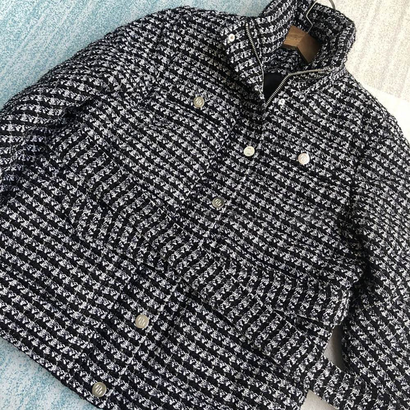 Maje Ganette Houndstooth Tweed Tie Belt Cotton Jacket RRP$685 Zoom Boutique Store jacket Maje Ganette Houndstooth Tweed Tie Belt Cotton Jacket | Zoom Boutique