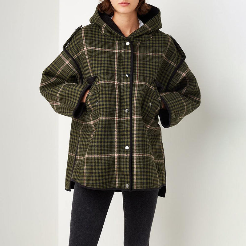 Maje Gangzam Oversize Checked Faux Shearling Wool Blend Coat RRP$675 Zoom Boutique Store coat Maje Gangzam Oversize Faux Shearling Wool Blend Coat | Zoom Boutique