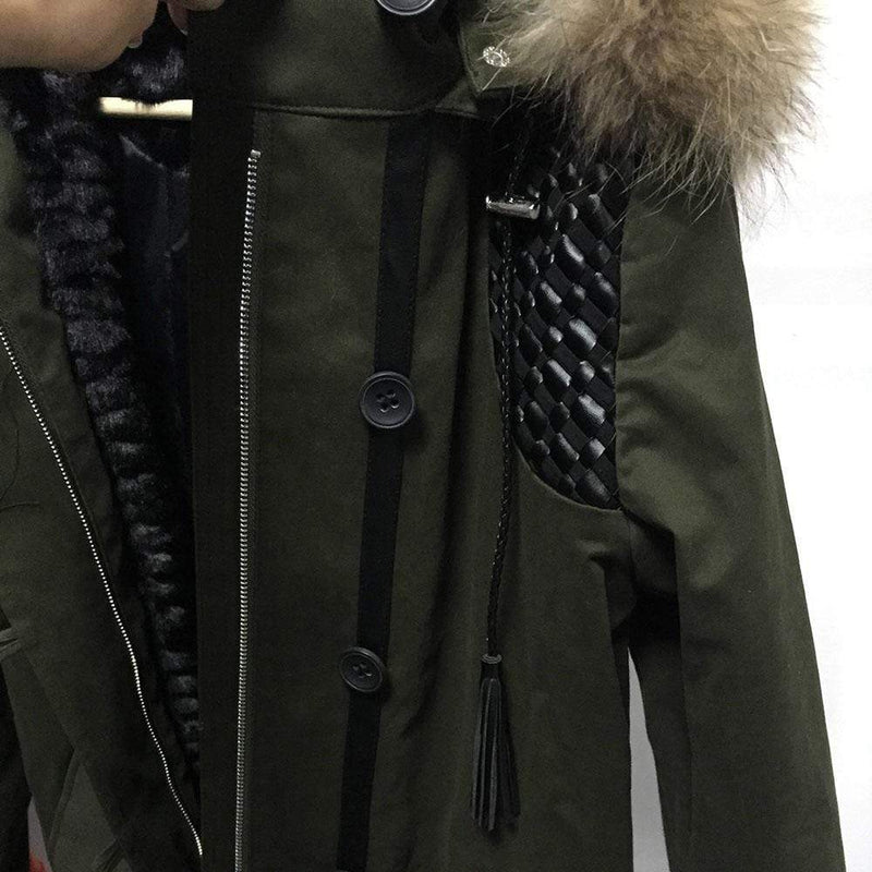 Maje Gove Faux Fur Hood Quilted Parka Coat with Braided Details 40 Zoom Boutique Store coat Maje Gove Faux Fur Hood Quilted Braided Parka Coat | Zoom Boutique