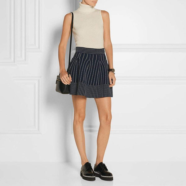 Maje Josette Jacquard Pleated Stretch Knit Mini Skirt RRP$285 S Zoom Boutique Store dress Maje Josette Jacquard Pleated Stretch Knit Mini Skirt | Zoom Boutique