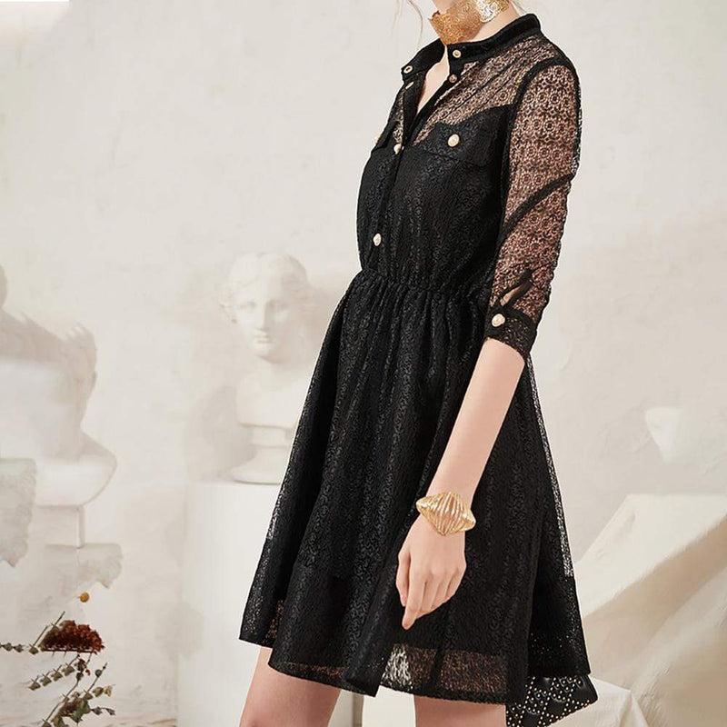 Maje Lace Skater Mesh Prom Little Black Dress RRP$445 - Zoom Boutique Store