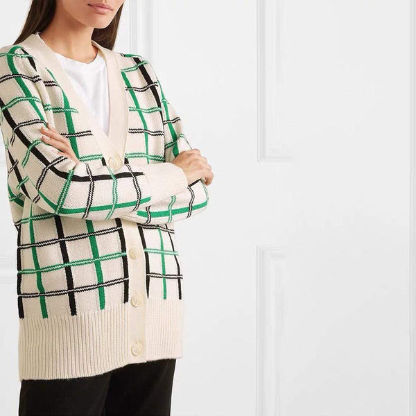 Maje Maya Checked Tartan Print Wool Blend Knitted Cardigan $340 Zoom Boutique Store cardigan