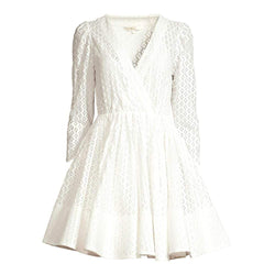 Maje Ralina White Guipure Lace V Neck Fit & Flare Dress RRP$550 - Zoom Boutique Store