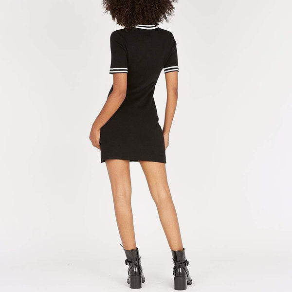 Maje Ravela Black Plain Fitted Tweed Mini Dress $375 Zoom Boutique Store dress