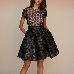 Maje Rizio Sequin Fit & Flare Short Sleeve Black Dress $445 - Zoom Boutique Store