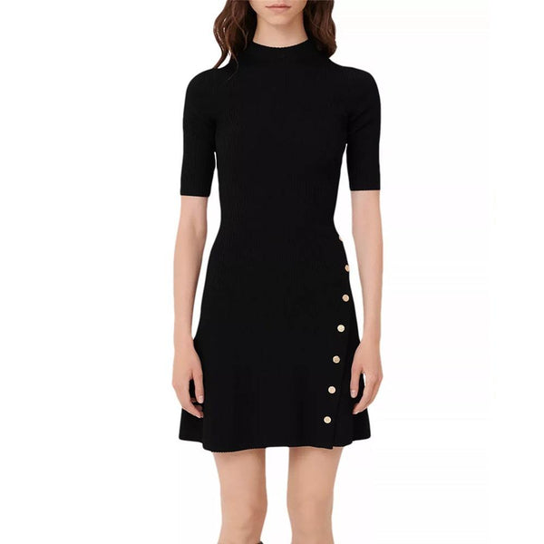 Maje Rosea Stretch Ribbed Knit Side Studs Mini Dress RRP$295 Zoom Boutique Store dress Maje Rosea Stretch Ribbed Knit Side Studs Mini Dress | Zoom Boutique