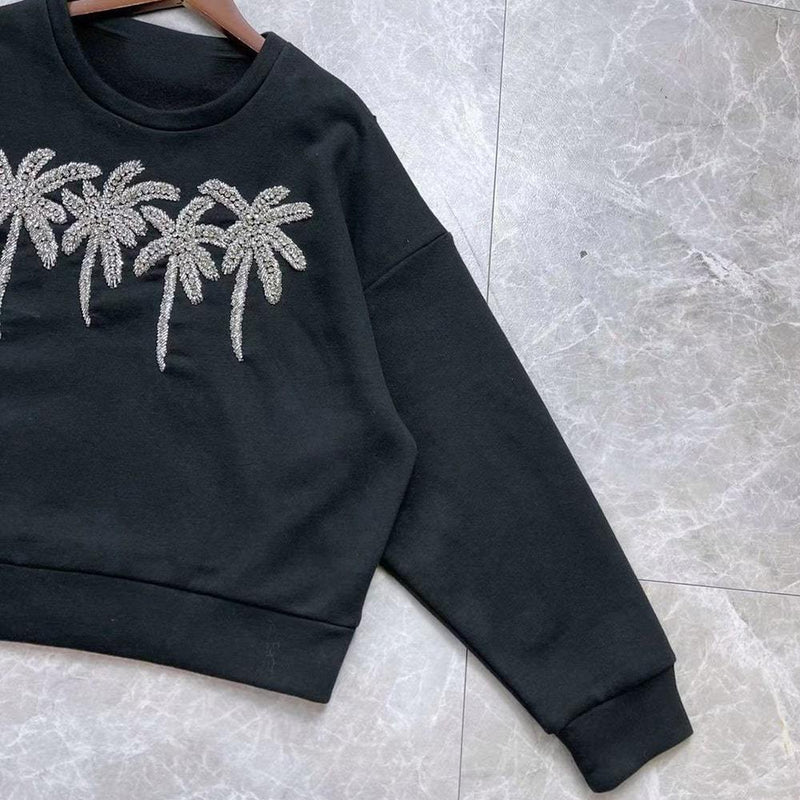 Maje Tzar Rhinestone Palm Tree Cotton Jumper Top Zoom Boutique Store jumper Maje Tzar Rhinestone Palm Tree Cotton Jumper Top | Zoom Boutique
