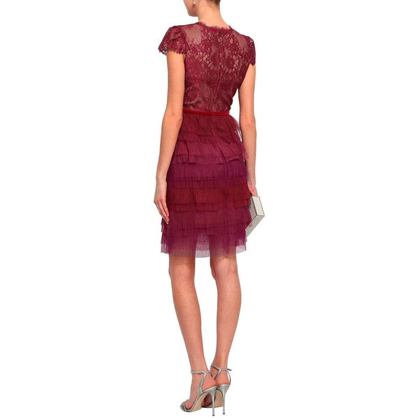 Marchesa Notte Tiered Chantilly Lace and Plisse Tulle Mini Dress Zoom Boutique Store dress Marchesa Notte Tiered Chantilly Lace Plisse Tulle Dress| Zoom Boutique
