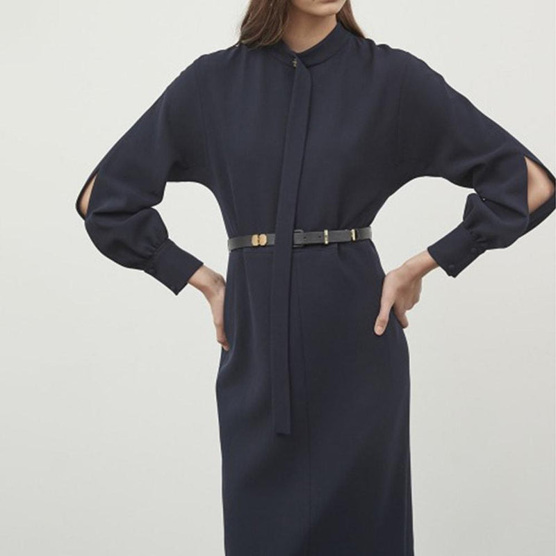 Michaa Studio Tie Mock Neck Long Sleeve Wool Midi Dress Zoom Boutique Store dress Michaa Studio Tie Mock Neck Long Sleeve Wool Midi Dress| Zoom Boutique