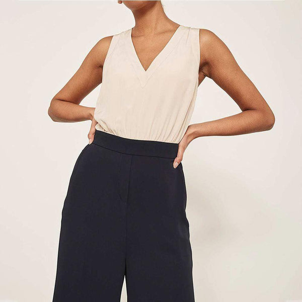 Mint Velvet Ivory Silk Top Navy Wide Leg Jumpsuit RRP$198 Zoom Boutique Store jumpsuit Mint Velvet Ivory Silk Top Navy Wide Leg Jumpsuit | Zoom Boutique