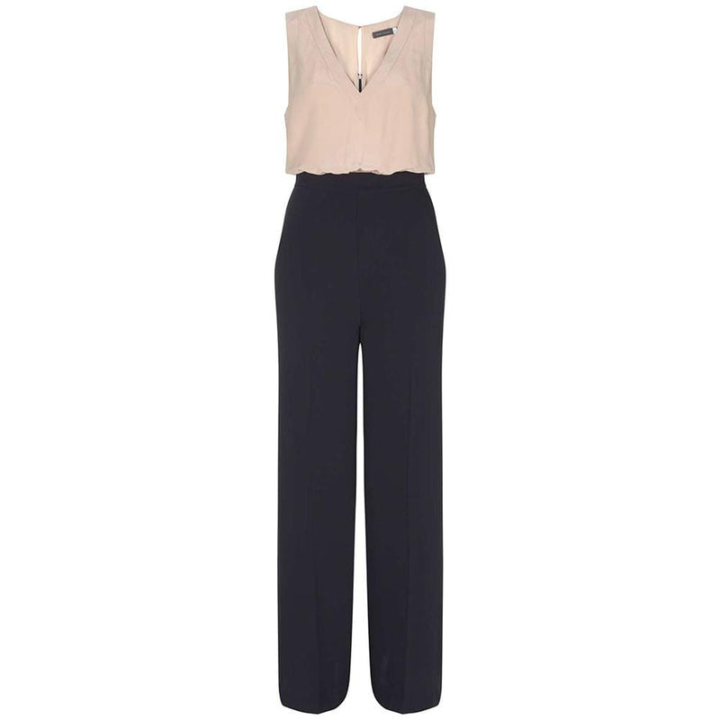 Mint Velvet Ivory Silk Top Navy Wide Leg Jumpsuit RRP$198 UK12 Zoom Boutique Store jumpsuit Mint Velvet Ivory Silk Top Navy Wide Leg Jumpsuit | Zoom Boutique