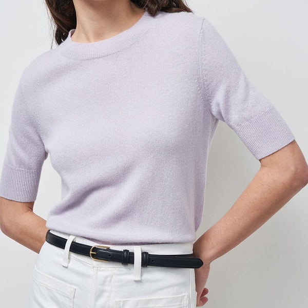 Nili Lotan Andie Cashmere Crew Neck Short Sleeves Sweater Zoom Boutique Store sweater Nili Lotan Andie Cashmere Crew Neck  Sweater | Zoom Boutique