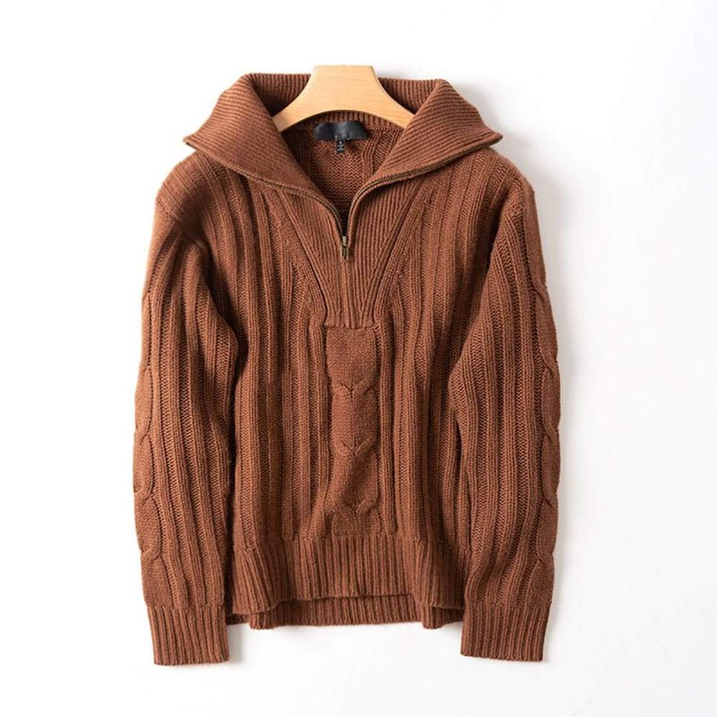 Nili Lotan Angela Cable Knit Half Zip Cashmere Sweater Jumper S / Brown Zoom Boutique Store sweater Nili Lotan Angela Cable Knit Cashmere Sweater Jumper | Zoom Boutique