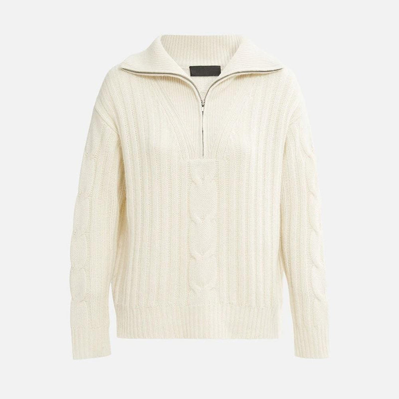 Nili Lotan Angela Cable Knit Half Zip Cashmere Sweater Jumper S / Ivory Zoom Boutique Store sweater Nili Lotan Angela Cable Knit Cashmere Sweater Jumper | Zoom Boutique