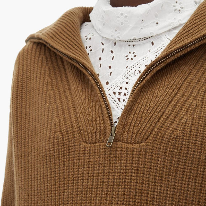 Nili Lotan Hester Ribbed Knit Half Zip Cashmere Sweater RRP$1320 Zoom Boutique Store sweater Nili Lotan Hester Ribbed Knit Half Zip Cashmere Sweater| Zoom Boutique
