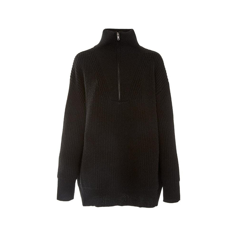 Nili Lotan Hester Ribbed Knit Half Zip Cashmere Sweater RRP$1320 XS / Black Zoom Boutique Store sweater Nili Lotan Hester Ribbed Knit Half Zip Cashmere Sweater| Zoom Boutique