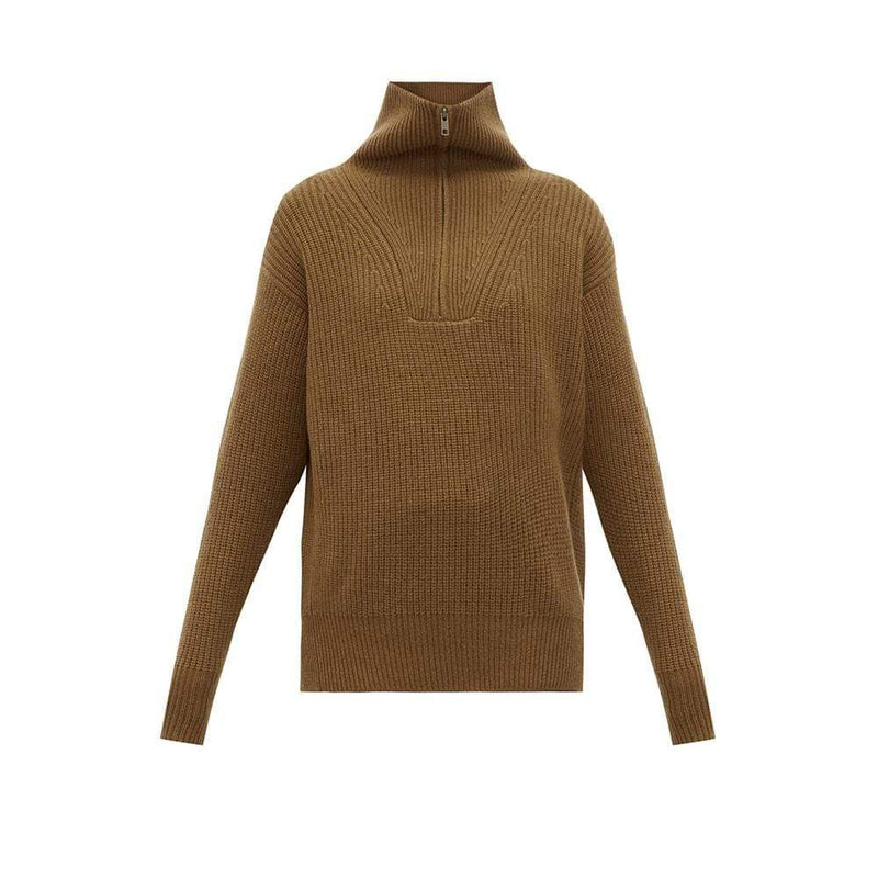 Nili Lotan Hester Ribbed Knit Half Zip Cashmere Sweater RRP$1320 XS / Brown Zoom Boutique Store sweater Nili Lotan Hester Ribbed Knit Half Zip Cashmere Sweater| Zoom Boutique