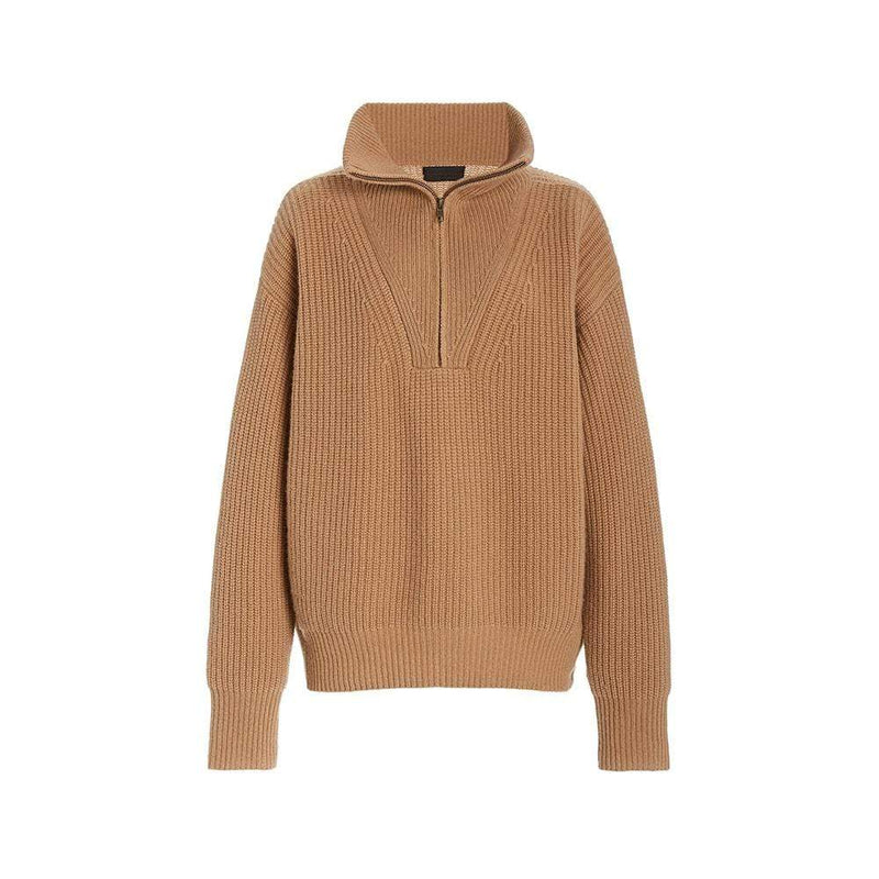 Nili Lotan Hester Ribbed Knit Half Zip Cashmere Sweater RRP$1320 XS / Camel Zoom Boutique Store sweater Nili Lotan Hester Ribbed Knit Half Zip Cashmere Sweater| Zoom Boutique