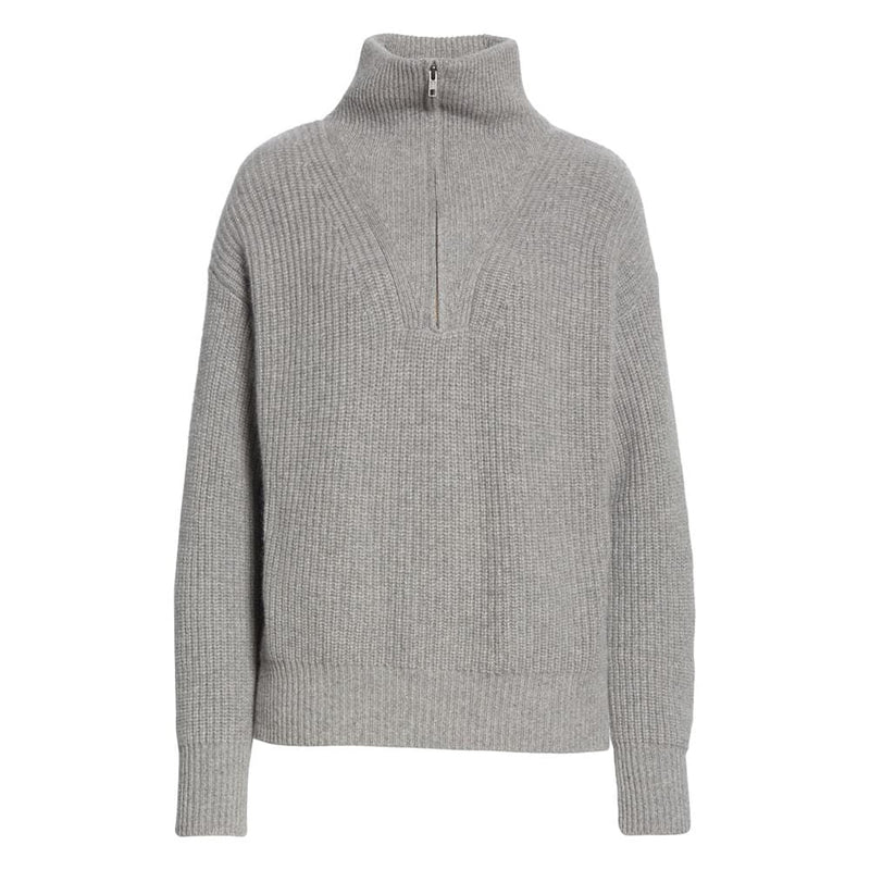 Nili Lotan Hester Ribbed Knit Half Zip Cashmere Sweater RRP$1320 XS / Grey Zoom Boutique Store sweater Nili Lotan Hester Ribbed Knit Half Zip Cashmere Sweater| Zoom Boutique