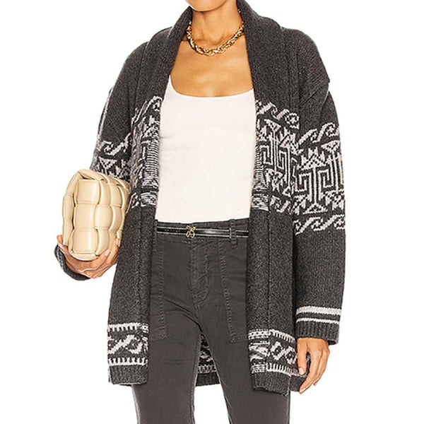 Nili Lotan Liliana Belted Wool Blend Cashmere Jacquard Knitted Cardigan Zoom Boutique Store cardigan Nili Lotan Liliana Wool Cashmere Jacquard Cardigan | Zoom Boutique