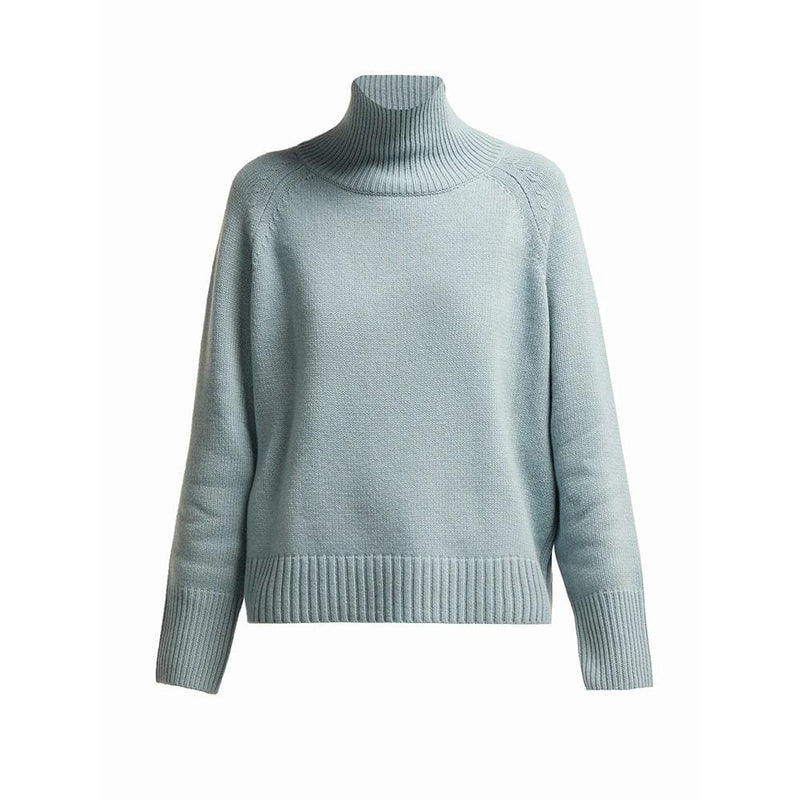Nili Lotan Mariah Funnel Neck Cashmere Sweater Knit Jumper XS / Pale Blue Zoom Boutique Store sweater Nili Lotan Mariah Funnel Neck Cashmere Sweater Jumper | Zoom Boutique