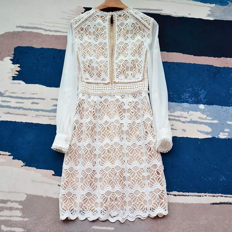Reiss Aria Geometric Lace Dress with Sheer Sleeves RRP$295 - Zoom Boutique Store