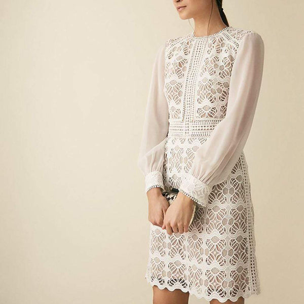 Reiss Aria Geometric Lace Dress with Sheer Sleeves $295 UK6 Zoom Boutique Store dress