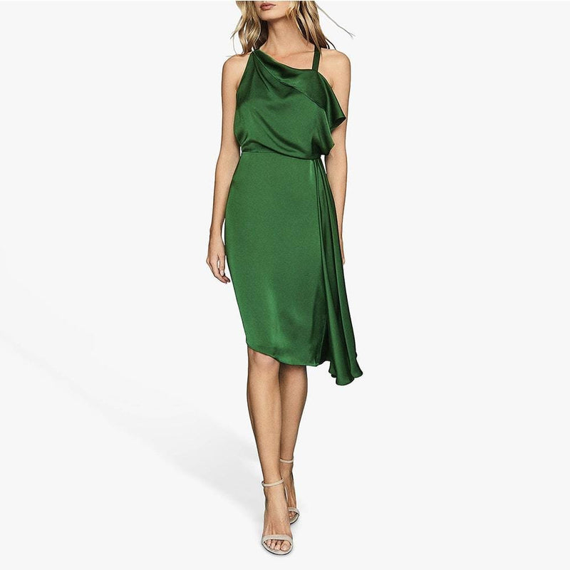 Reiss Aya Cascading Asymmetric Draped Overlay Satin Midi Dress Zoom Boutique Store dress Reiss Aya Cascading Asymmetric Draped Satin Midi Dress | Zoom Boutique