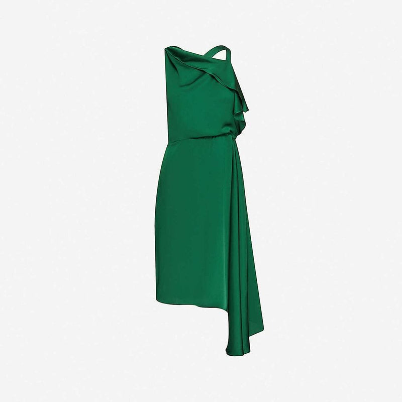 Reiss Aya Cascading Asymmetric Draped Overlay Satin Midi Dress UK6 / Green Zoom Boutique Store dress Reiss Aya Cascading Asymmetric Draped Satin Midi Dress | Zoom Boutique