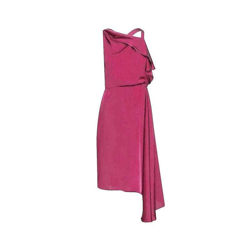 Reiss Aya Cascading Asymmetric Draped Overlay Satin Midi Dress UK6 / Pink Zoom Boutique Store dress Reiss Aya Cascading Asymmetric Draped Satin Midi Dress | Zoom Boutique