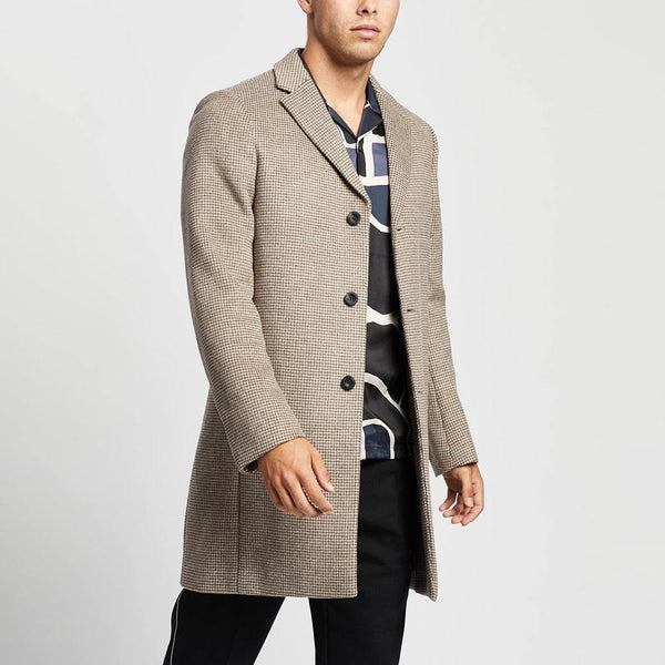 Reiss Barbera Wool Blend Checked Overcoat Oatmeal Check Zoom Boutique Store coat Reiss Barbera Wool Blend Checked Overcoat | Zoom Boutique