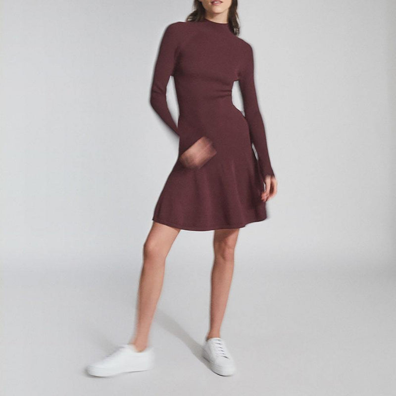 Reiss Clary Ribbed Knitted Ruffle Hem Fit & Flare Dress Zoom Boutique Store dress Reiss Clary Ribbed Knitted Ruffle Hem Fit Flare Dress | Zoom Boutique