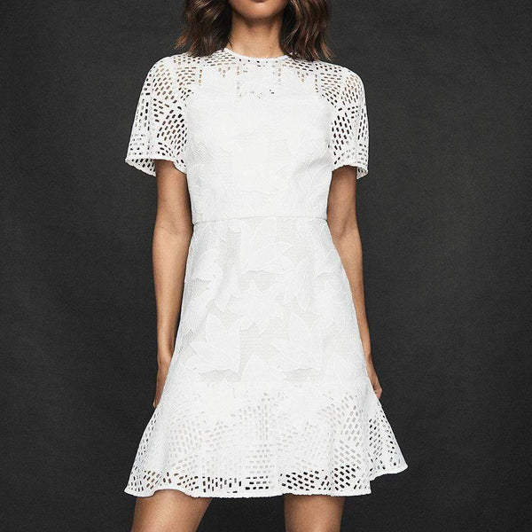Reiss Damara White Lace Sheer Mini Dress RRP$445 - Zoom Boutique Store