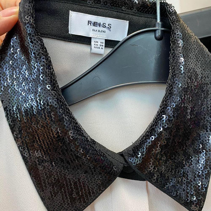 Reiss Delaney Sequin Collar Relaxed Fit Silk Shirt RRP$330 Zoom Boutique Store shirt Reiss Delaney Sequin Collar Relaxed Fit Silk Shirt | Zoom Boutique