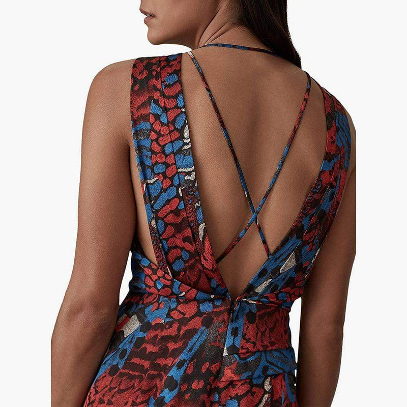 Reiss Diona Cocktail Asymmetric Cross Back Wrap Midi Dress Zoom Boutique Store dress Reiss Diona Cocktail Asymmetric Cross Back Wrap Dress | Zoom Boutique