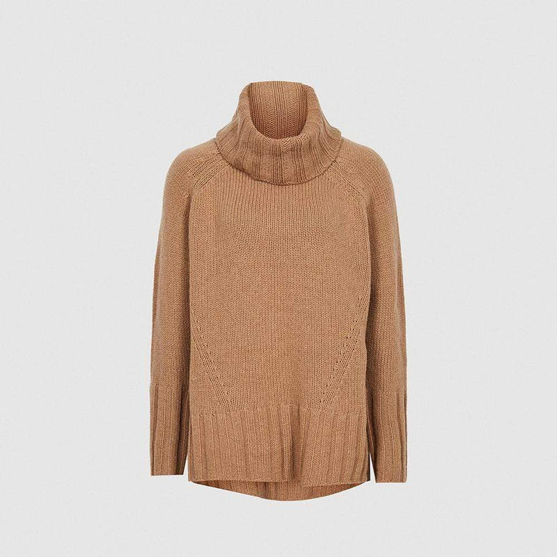 Reiss Eve Wool Cashmere Blend Roll Neck Knit Jumper RRP$275 XS / Camel Zoom Boutique Store jumper Reiss Eve Wool Cashmere Blend Roll Neck Knit Jumper | Zoom Boutique