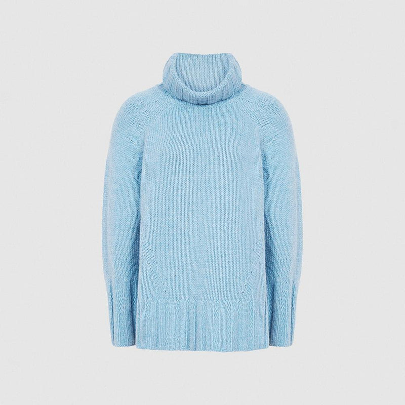 Reiss Eve Wool Cashmere Blend Roll Neck Knit Jumper RRP$275 XS / Pale Blue Zoom Boutique Store jumper Reiss Eve Wool Cashmere Blend Roll Neck Knit Jumper | Zoom Boutique