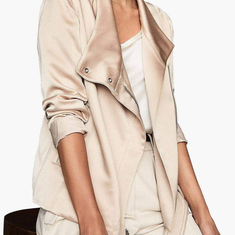 Reiss Harriet Soft Single Press Stud Biker Jacket RRP$475 Zoom Boutique Store jacket Reiss Harriet Soft Single Press Stud Biker Jacket | Zoom Boutique