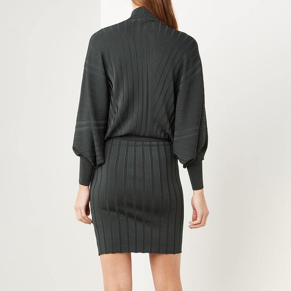 Reiss Harry Batwing High Neck Drape Knitted Dress RRP$345 Zoom Boutique Store dress Reiss Harry Batwing High Neck Drape Knitted Dress | Zoom Boutique