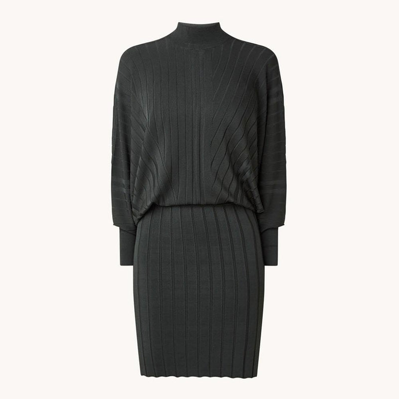 Reiss Harry Batwing High Neck Drape Knitted Dress RRP$345 XS Zoom Boutique Store dress Reiss Harry Batwing High Neck Drape Knitted Dress | Zoom Boutique