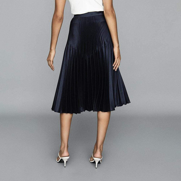 Reiss High Rise Pleated Midi Skirt Dorie Silver & Dora Navy RRP$410 Zoom Boutique Store
