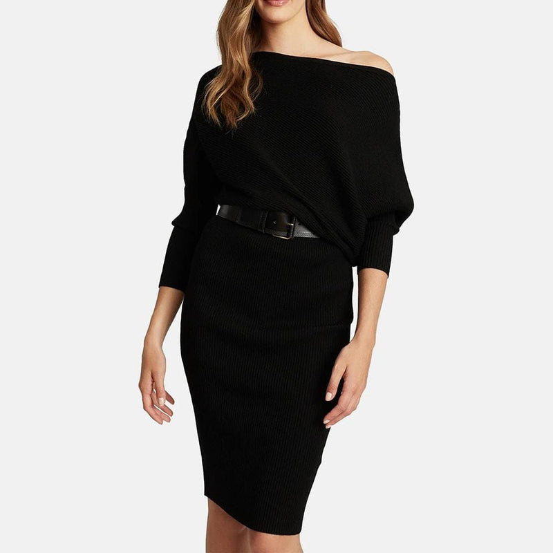 REISS Lara Off The Shoulder Draped Bardot Knitted Shift Dress RRP$345 Zoom Boutique Store dress REISS Lara Off The Shoulder Bardot Knitted Shift Dress | Zoom Boutique