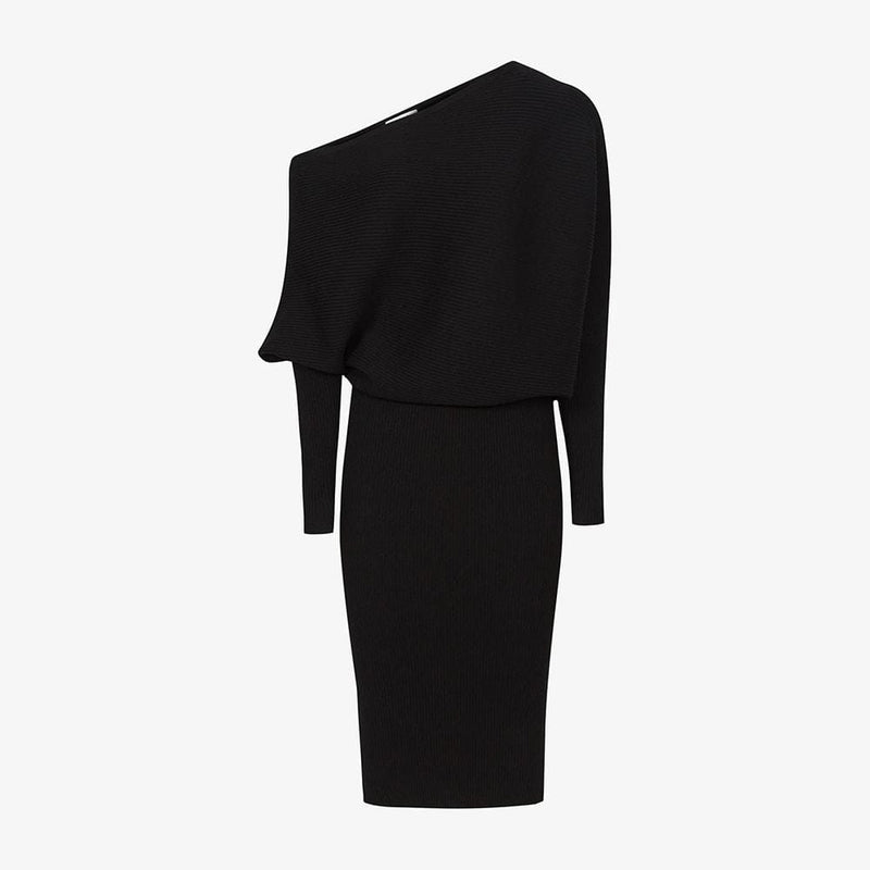 REISS Lara Off The Shoulder Draped Bardot Knitted Shift Dress RRP$345 XS / Black Zoom Boutique Store dress REISS Lara Off The Shoulder Bardot Knitted Shift Dress | Zoom Boutique