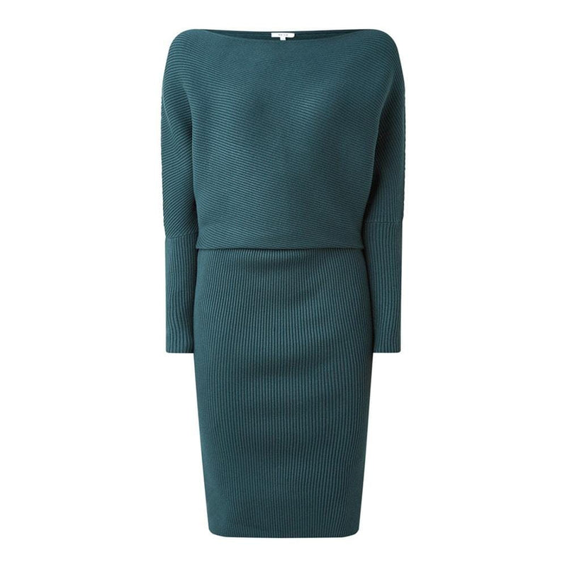 REISS Lara Off The Shoulder Draped Bardot Knitted Shift Dress RRP$345 XS / Green Zoom Boutique Store dress REISS Lara Off The Shoulder Bardot Knitted Shift Dress | Zoom Boutique