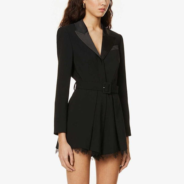 Reiss Lorelli Lace Trim Crepe Tuxedo Belted Playsuit RRP$425 Zoom Boutique Store playsuit Reiss Lorelli Lace Trim Crepe Tuxedo Belted Playsuit | Zoom Boutique